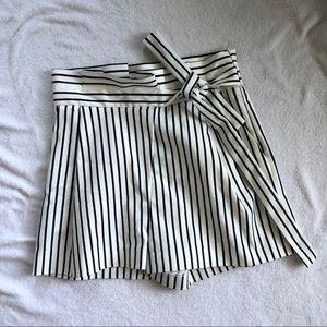 Zara Tie-Front Striped Shorts